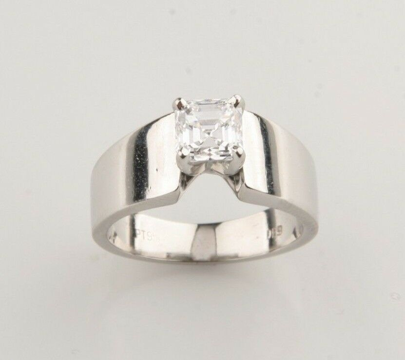 1.00 Carat Emerald Cut Diamond Solitaire Platinum Engagement Ring Size 5.5 EGL