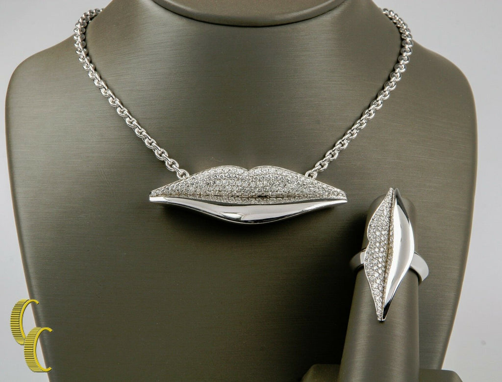 Bulgari Bvlgari Enigma 18k White Gold Pave Diamond Ring & Necklace Pendant 17""