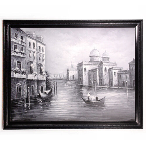 Black & White Canvas Reproduction Venice, Italy in Acrylic Unknown Artist, Title