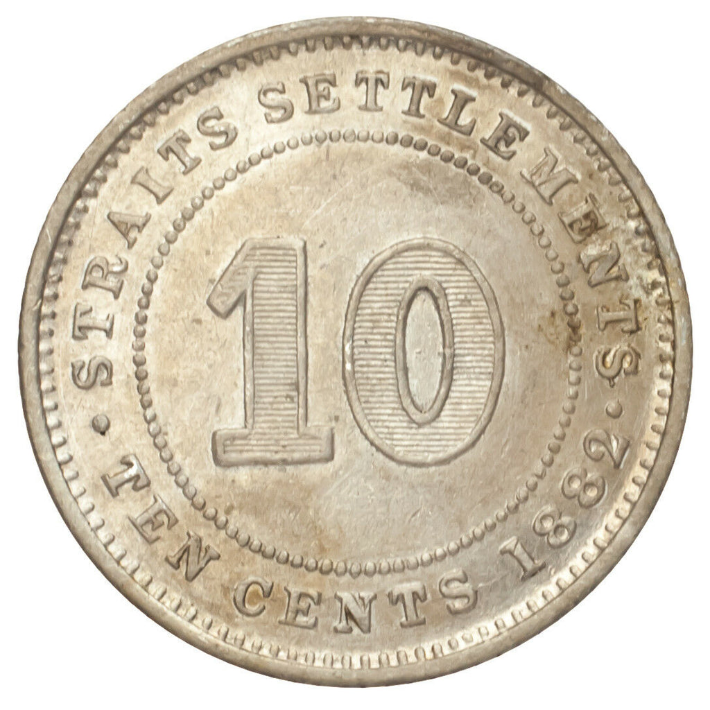 1882-H Straits Settlements Silver 10 Cents (Extra Fine, XF Condition)