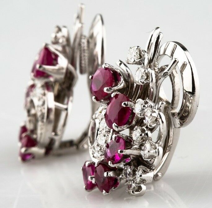 14K WHITE GOLD RUBY AND DIAMOND CLIP-ON EARRINGS *BEAUTIFUL PIGEON BLOOD COLOR**