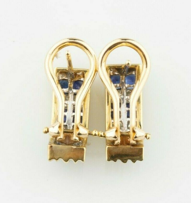 14k Yellow Gold Sapphire and Diamond Earrings TCW = 1.15 ct w/ Certificate