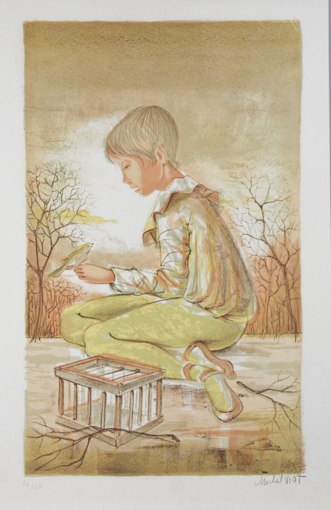 """Boy With Bird Cage"" By Michel Viot Lithograph On Paper Limited Ed. of 50"