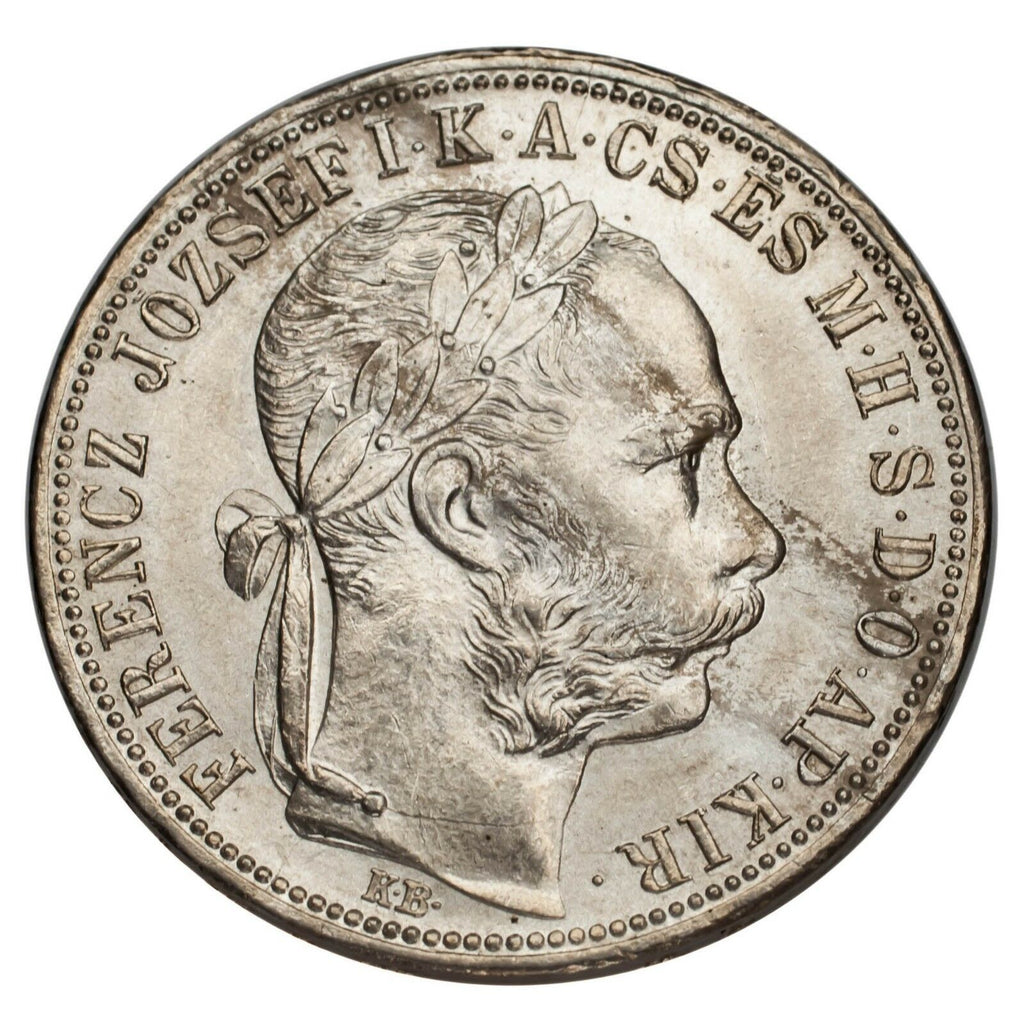 1888 Hungary 1 Forint Silver Coin KM #469 About Uncirculated Condition