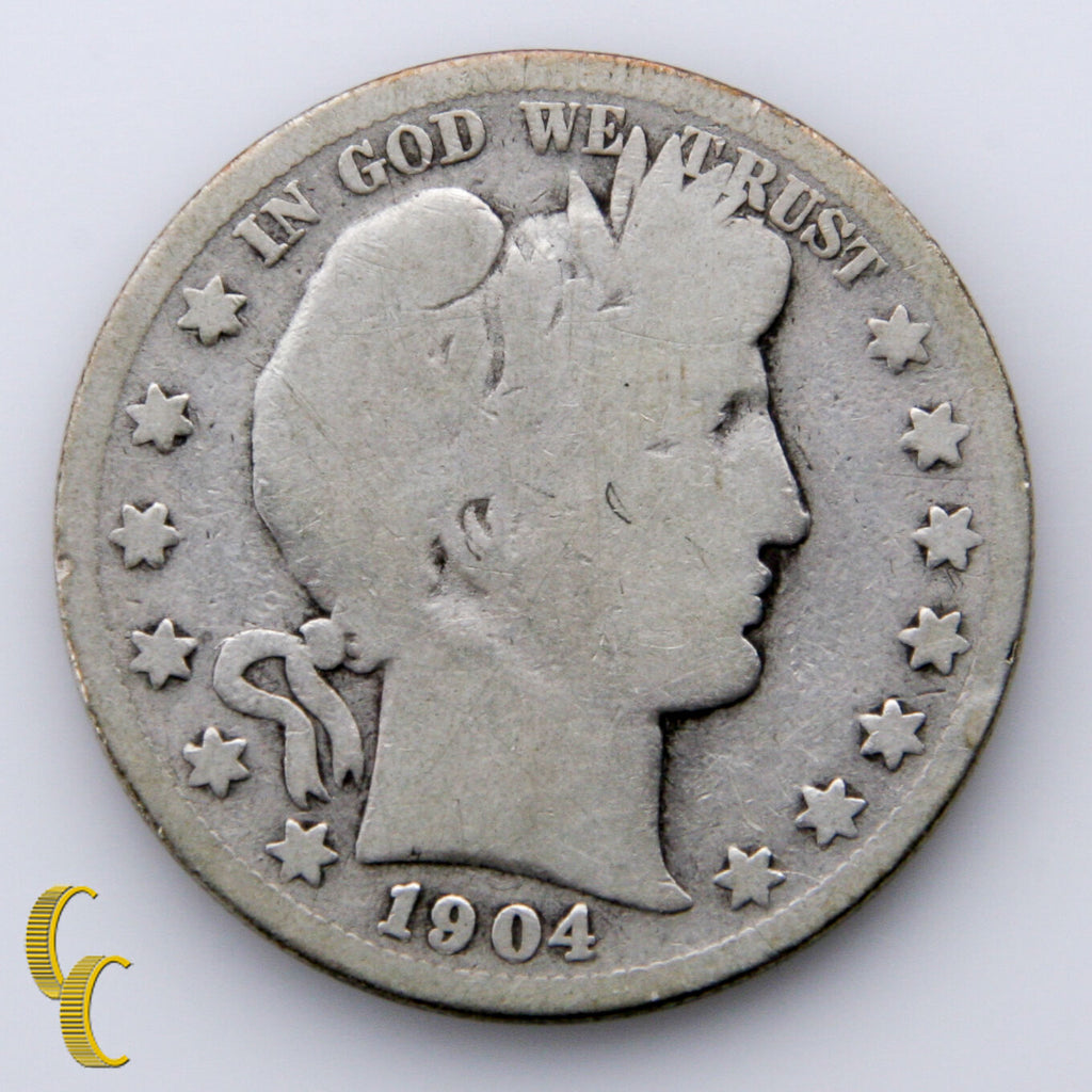 1904-S Silver Barber Half Dollar 50c (AG+) About Good Plus Condition