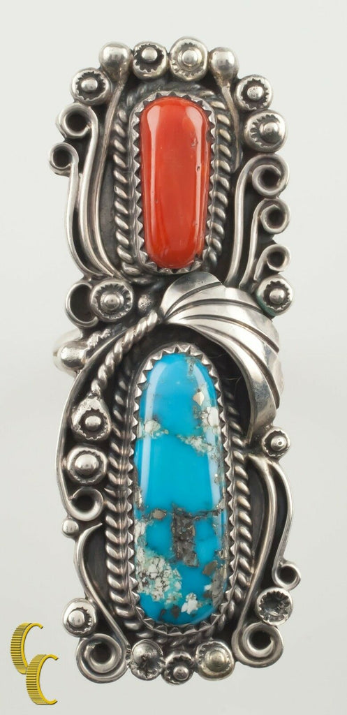 Navajo Native American  Silver Coral & Turquoise Ring Signed FPB Size 7.25