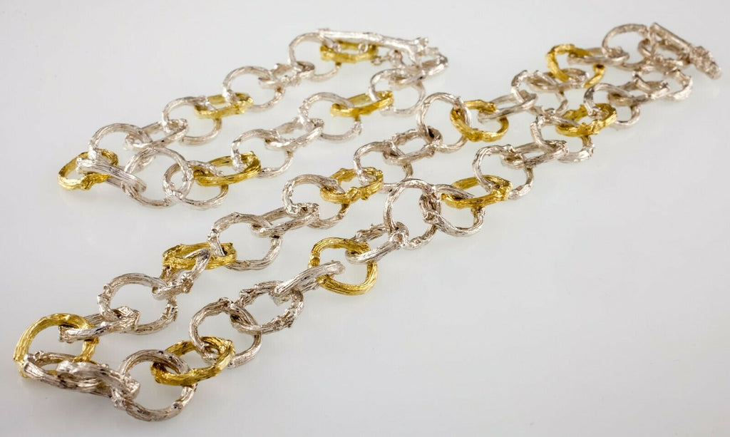 K. Brunini Sterling Silver and 18k Gold Twig Loop Chain Bracelet and Necklace