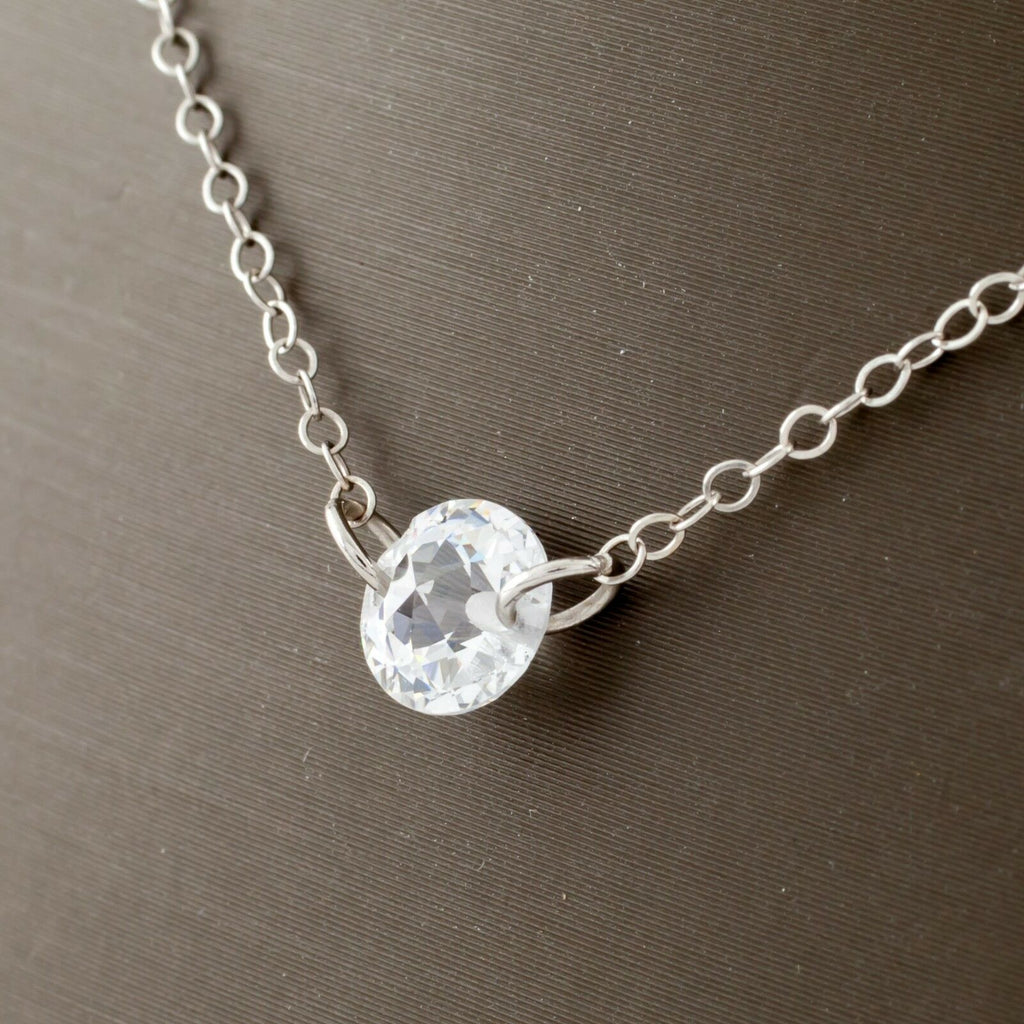 14k White Gold JCM Gorgeous Cubic Zirconia by the Yard Necklace 20""