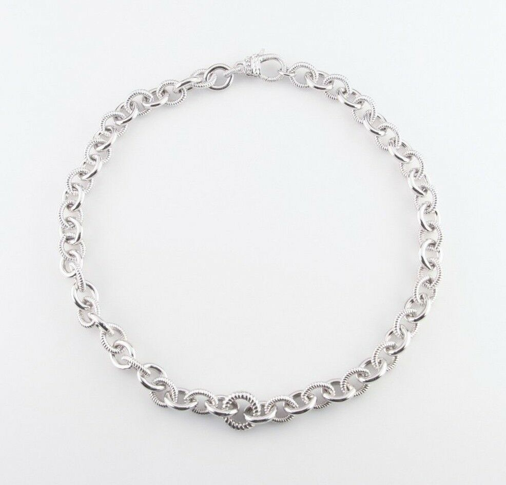 "Judith Ripka Sterling Silver Rolo Chain Link Necklace 18.5"" Great Condition!"