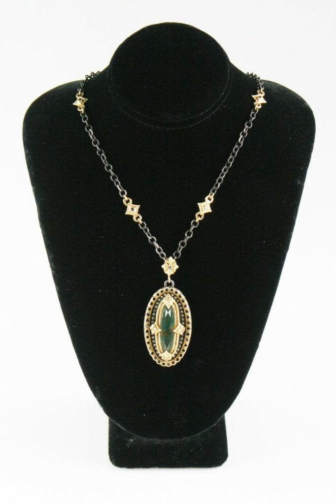 Emily Armenta Heraldic Bloodstone 18k Yellow Gold & 925 Silver Pendant Necklace