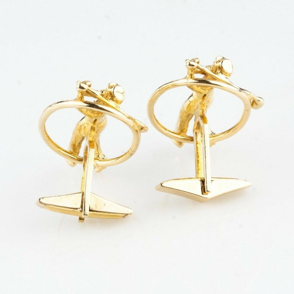 14K YELLOW GOLD PLAYING GOLF CUFFLINKS 14.1 GR.  UNIQUE CUFFLINKS