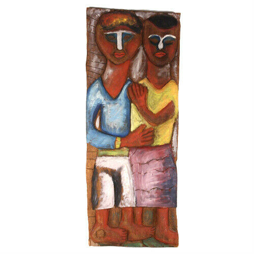 "Carved Wood Boy & Girl Painted Wall Art 28 1/4""x10 3/4"""