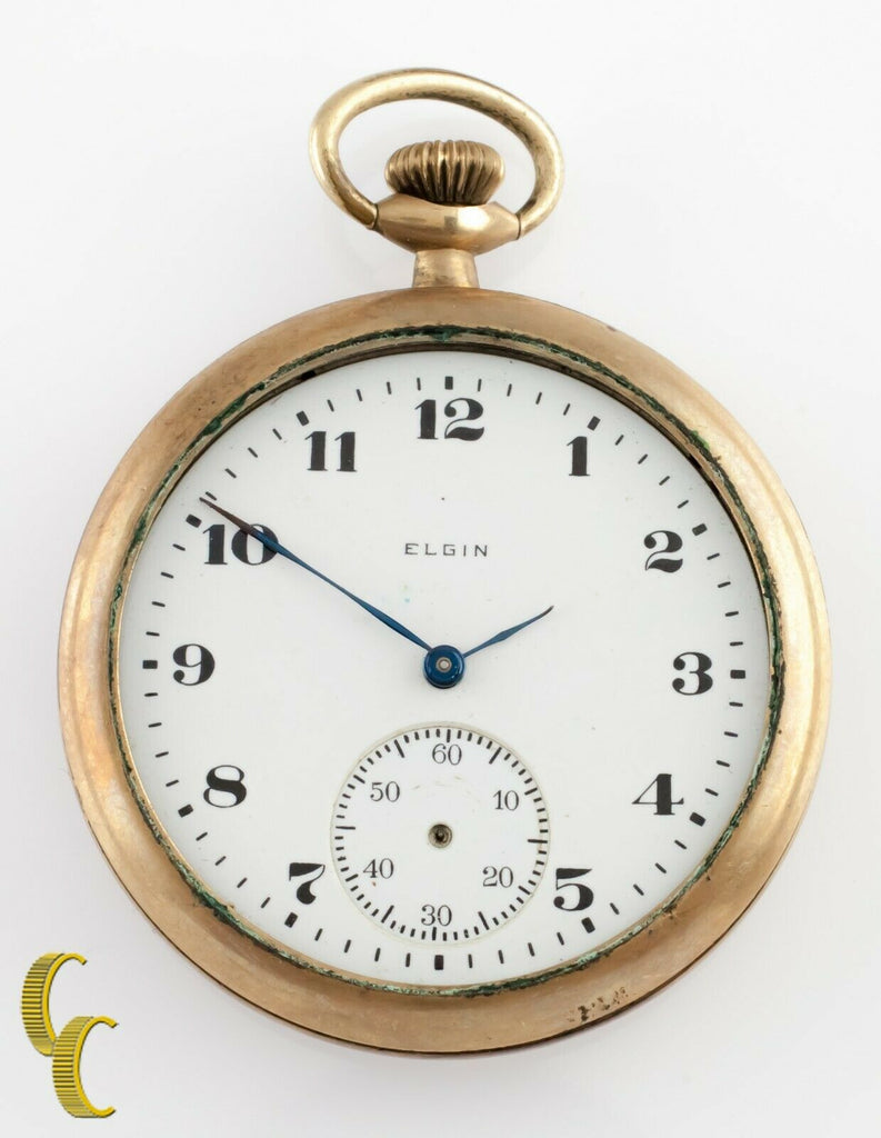Elgin Antique Open Face Gold Filled Pocket Watch Gr 303 Size 12 7 Jewel