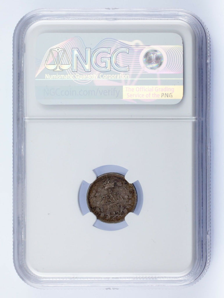 1909 Canada 5C Maple Leaves Bow Tie Cross Graded by NGC as MS62