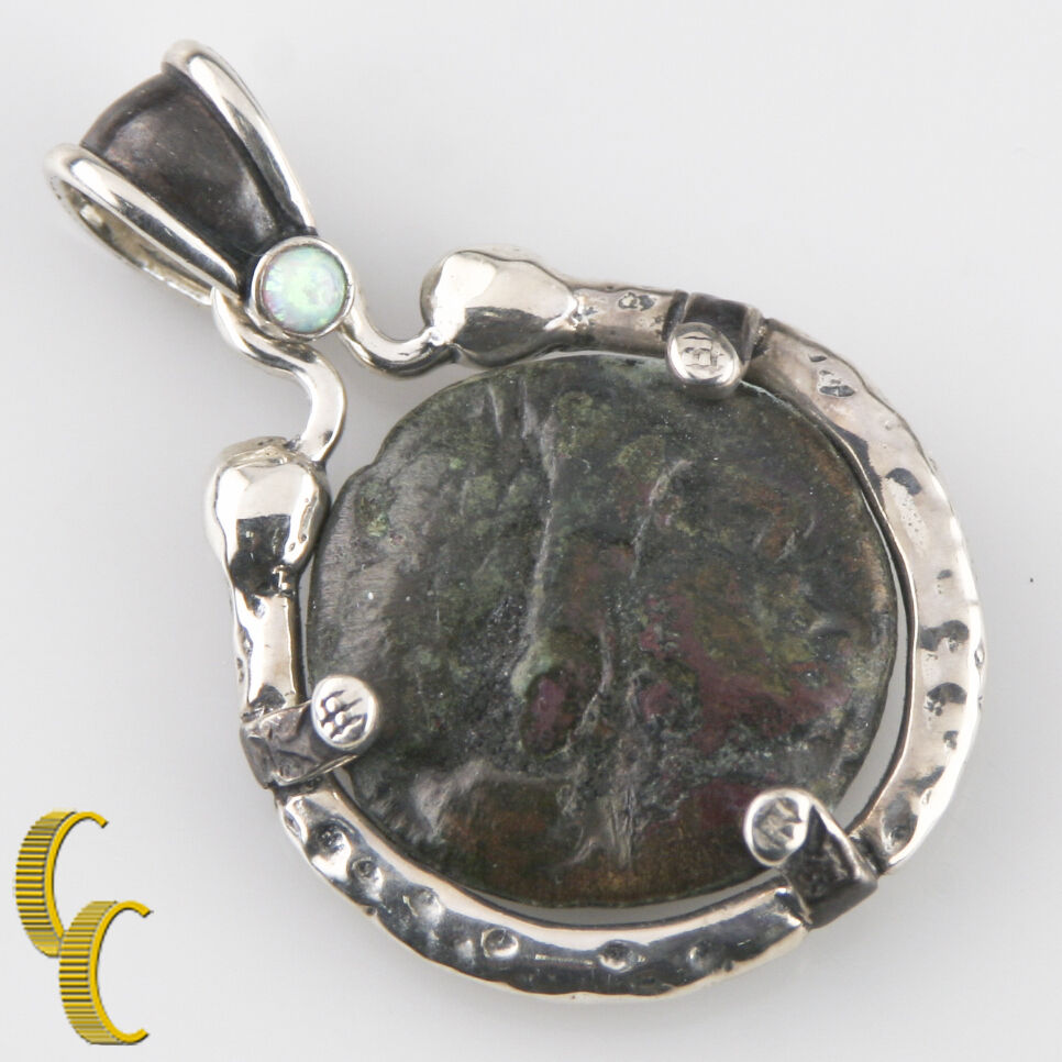 GREEK COIN IN SILVER BEZEL PENDANT