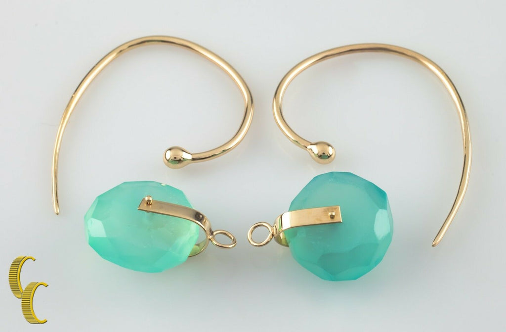 Unique Modernist Gold Tone Hook Earrings w/ Danging Blue Quartz Wheels