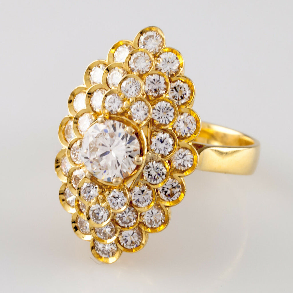 2.72 carat Diamond Solitaire 18k Yellow Gold Cluster Ring w/ GIA Cert Size 7