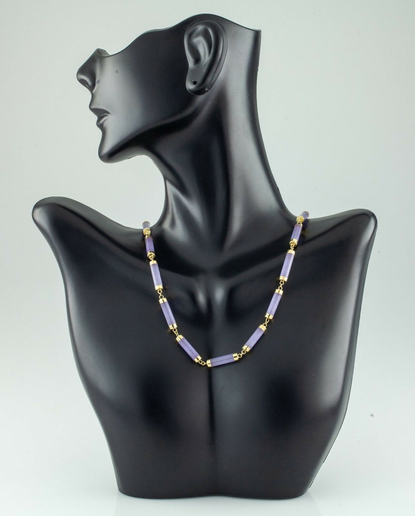 "14k Yellow Gold Lavender Jadeite Necklace 16"" 14.5 grams"