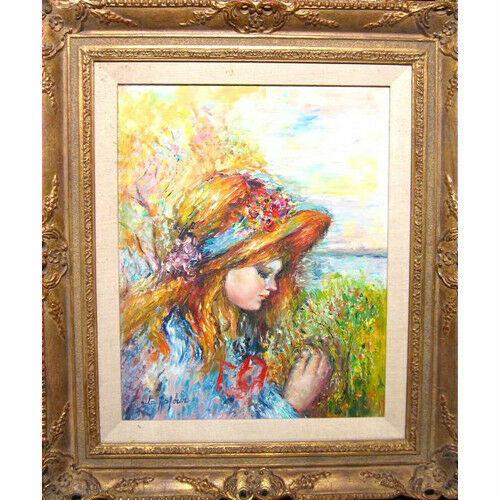 """Young Girl"" by Rita Asfour Signed Oil on Canvas Framed 29""x25"""