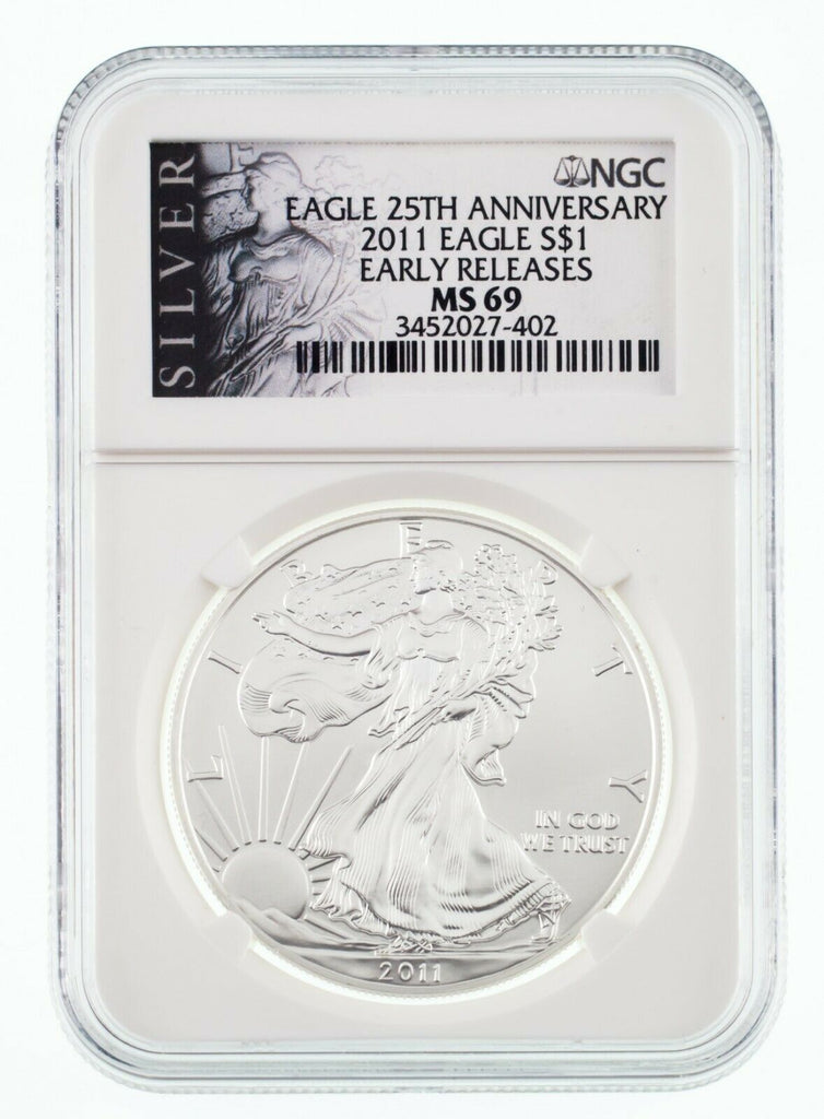 2011 $1 American Silver Eagle Graded by NGC as MS-69 Early Releases