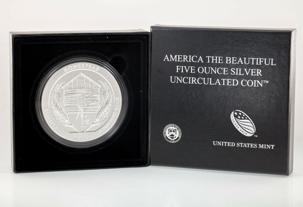 "2015 ""America the Beautiful"" 5 Oz. .999 Silver Round Homestead Monument Box CoA"