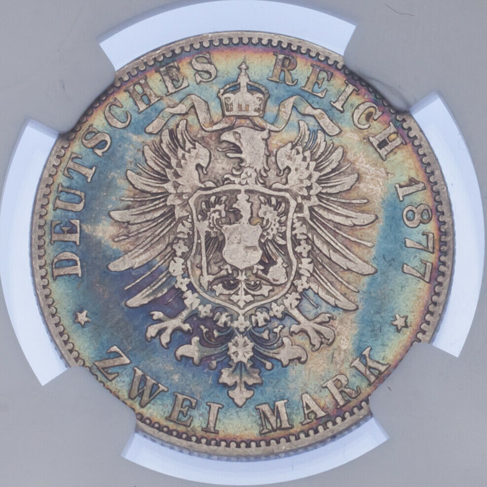 1877-A Germany 2 Mark Mecklenburg-Strelitz Graded by NGC as F-15! Cool Toning!