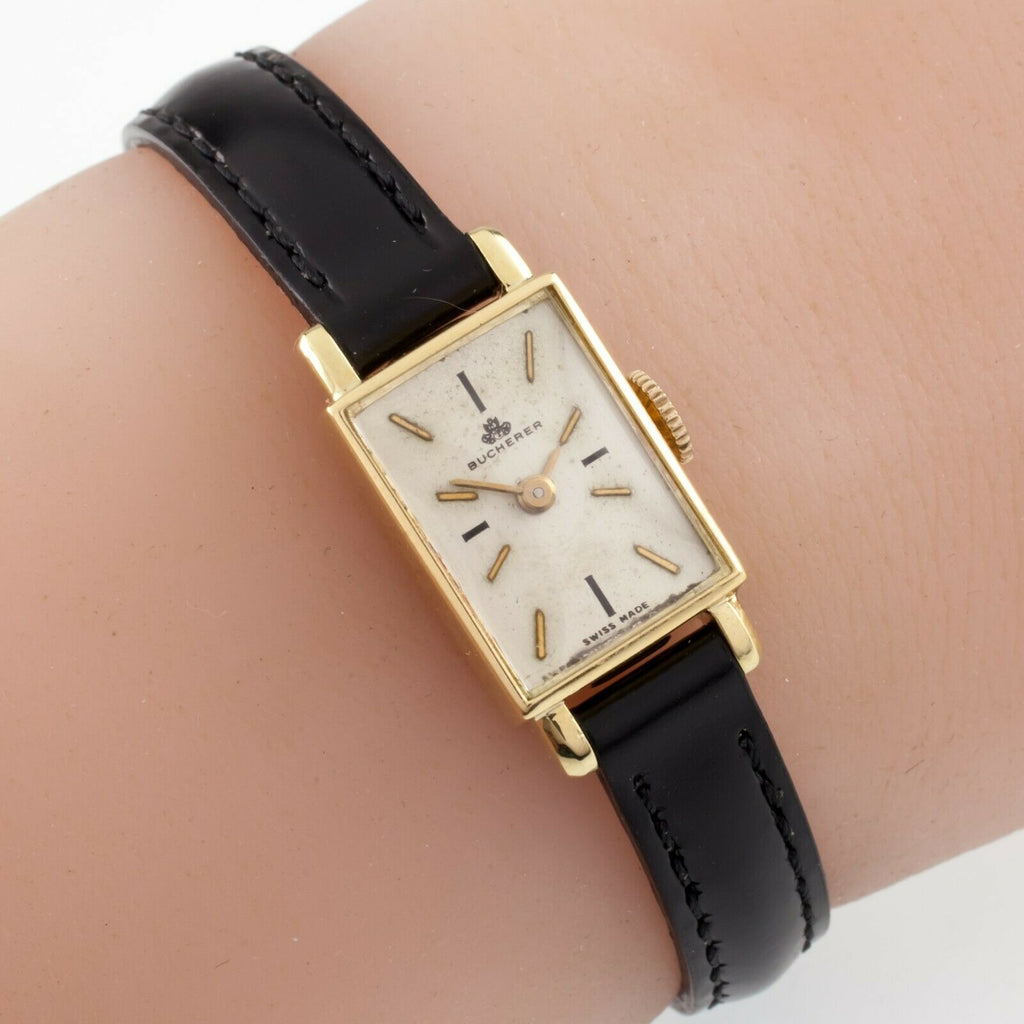 Bucherer 18k Yellow Gold Women's Hand-Winding Watch w/ Leather Band