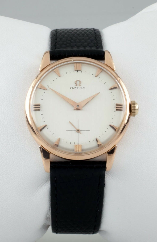 Omega 18k Rose Gold Vintage Hand-Winding Watch Cal. 267 w/ Black Leather Band