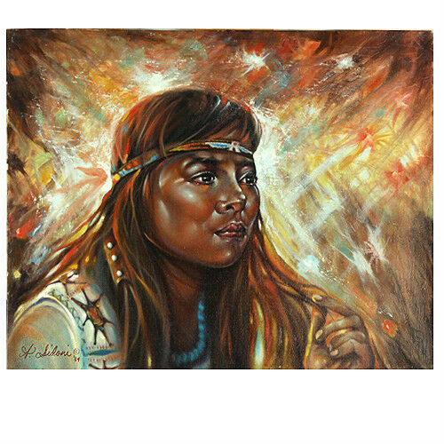 Untitled (Native Amer. Woman w/ Headband) By Anthony Sidoni Signed Oil on Canvas