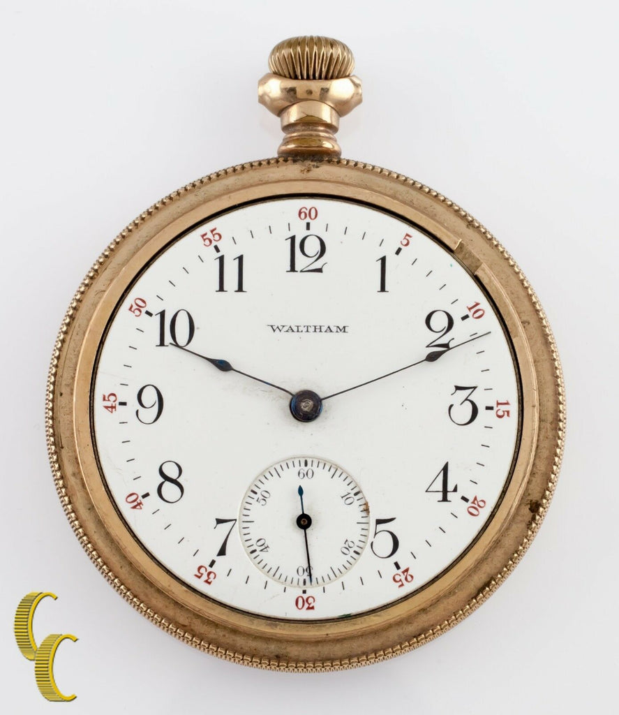 Gold Filled Waltham Antique Open Face Pocket Watch Gr 630 16S 17 Jewel