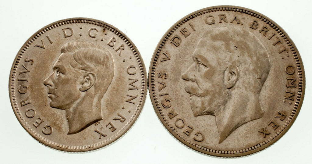 Great Britain 1936 - 1942 Lot of 2 Silver Coins XF - AU Condition