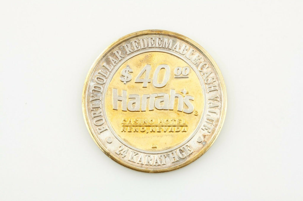HARRAH'S, RENO NV, $40 FORTY DOLLAR GAMING TOKEN .999 FINE SILVER COIN