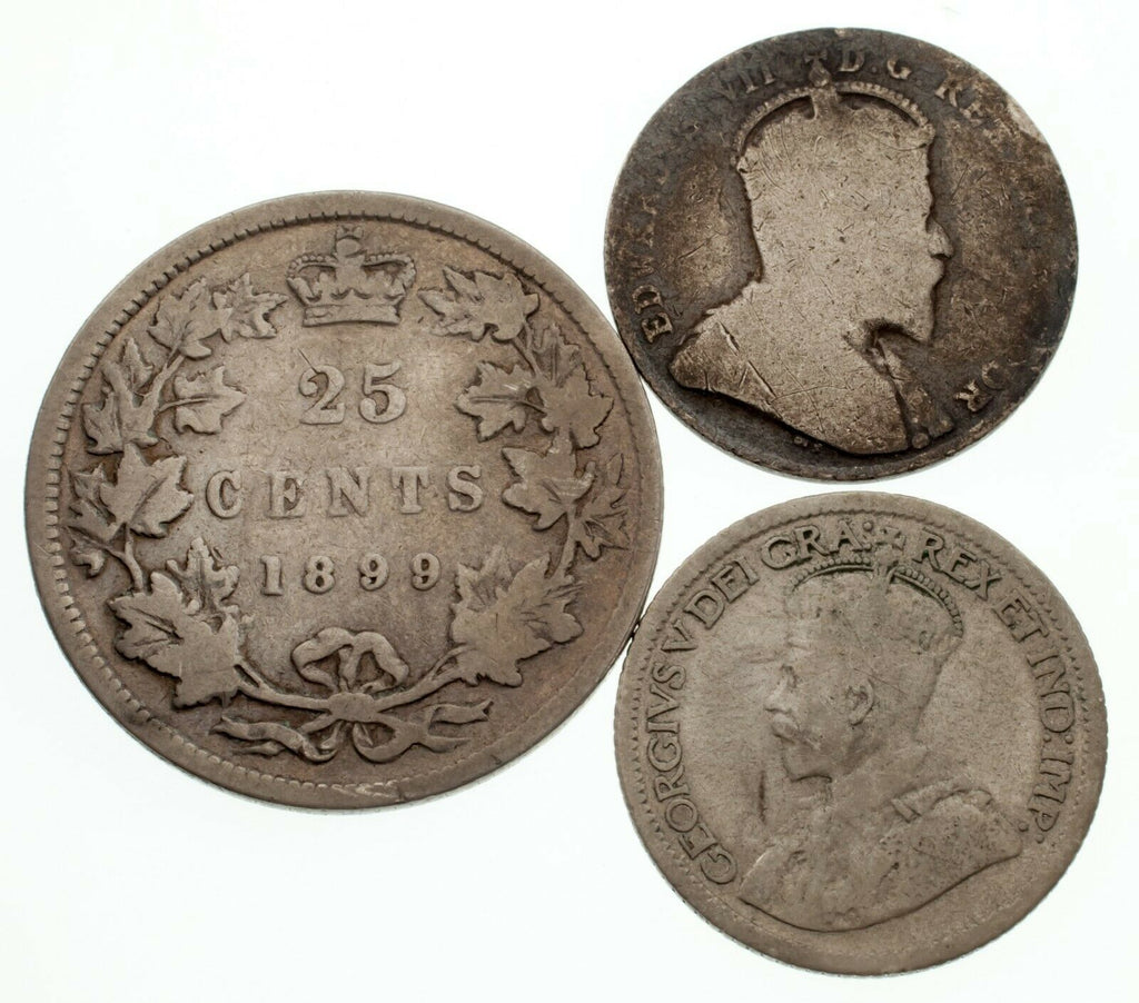 Canada Lot of 3 Silver Coins (1903 10C VG, 1921 10C VF, 1899 25C Fine)