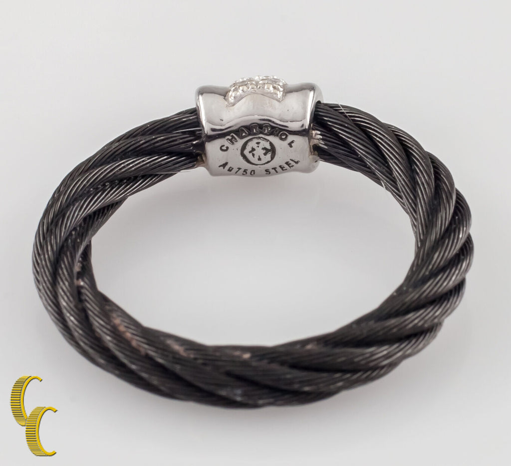 Charriol 18K White Gold / Diamond Black Cable Ring Celtic Noir Collection 6.25