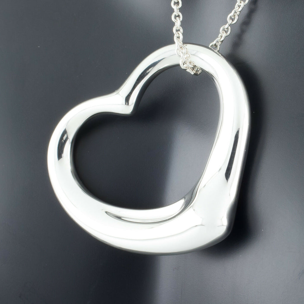 "Tiffany & Co. Sterling Silver Elsa Peretti XL Open Heart Pendant w/ 30"" Chain"