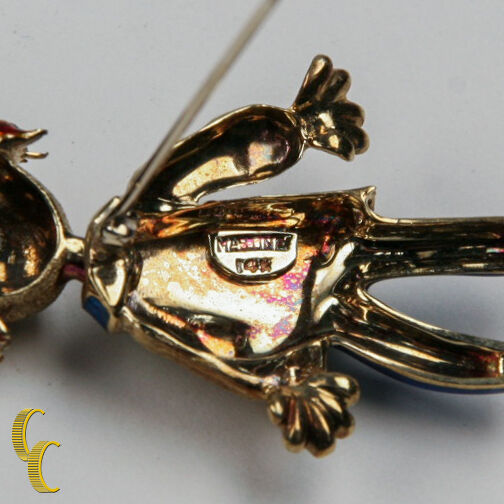14K Yellow Gold / Enamel Martine Vintage Clown Brooch Great Deal Awesome Gift!