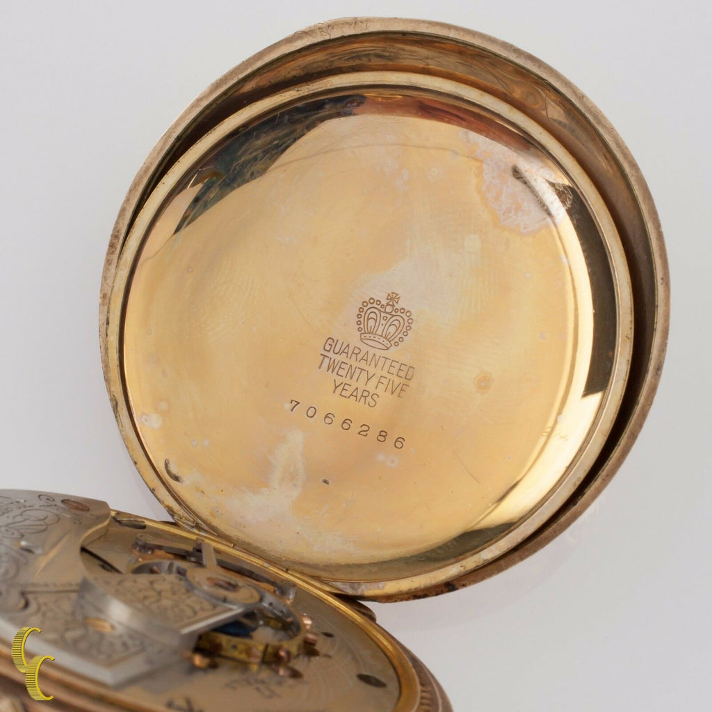 Yellow Gold Filled Waltham Full Hunter Pocket Watch 17 Jewel Size 18 1905 825