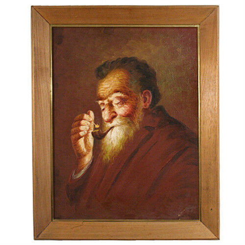 Untitled (Old Man Smoking) by Hector Moncayo Signed Framed Oil on Canvas