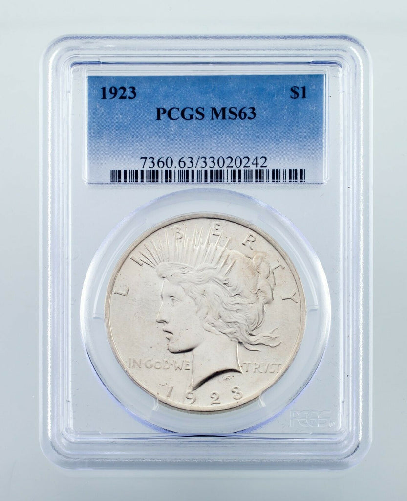 1923 $1 Silver Peace Dollar Graded by PCGS as MS-63! Nice Coin!