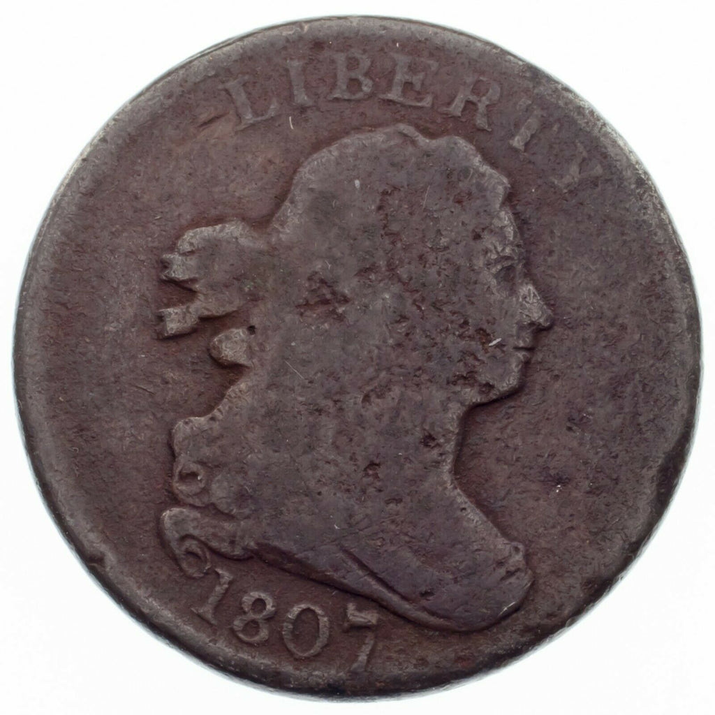 1807 Half Cent 1/2C Good Condition, Brown Color, Tiny Bit of Typical Porosity