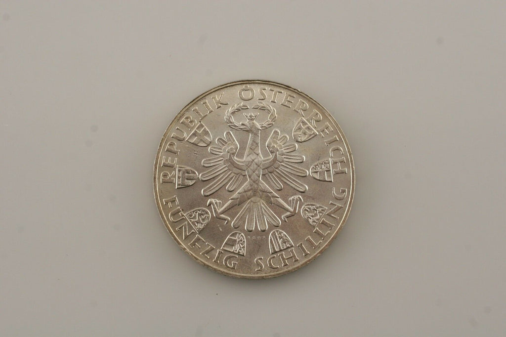 1959 Austria 50 Shilling Silver Coin in BU Condition KM #2888