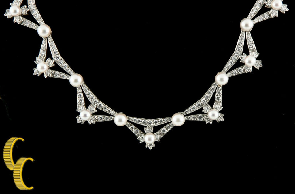Tiffany & Co 5.00 carat Diamond & Pearl Platinum Necklace