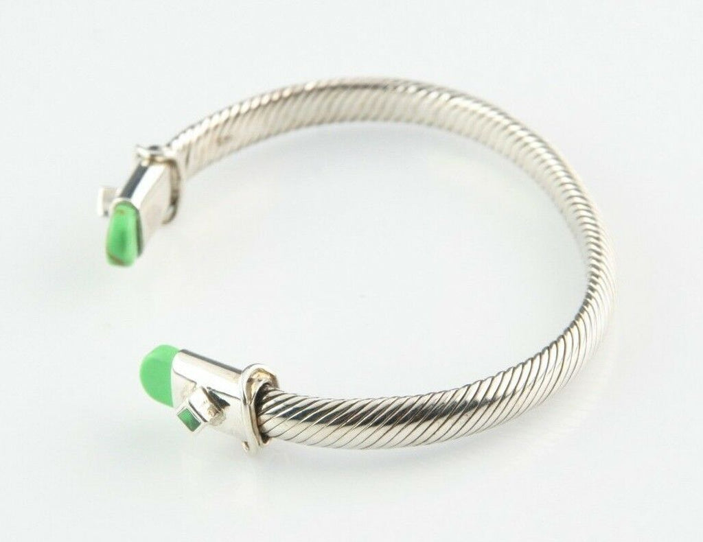 "Sterling Silver Cable Cuff Bracelet w/ Green Accents 7"" Long 6 mm Wide 28.7 g"