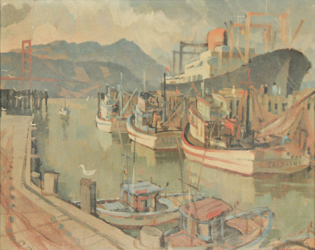 """Fisherman's Wharf"" by Louis Macouillard Framed Print 16""x11 1/2"""