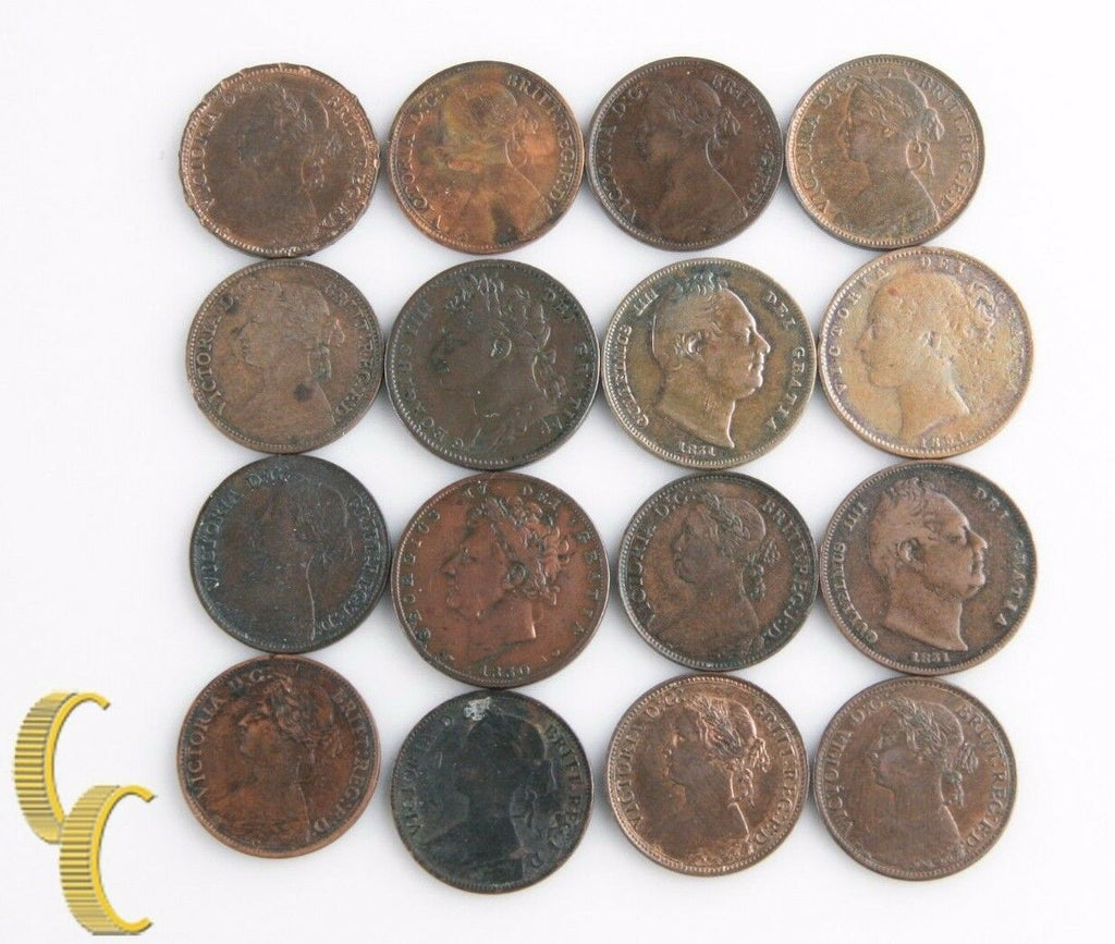 1821-1884 Great Britain Farthing Lot (16 coins) George IV William IV Victoria