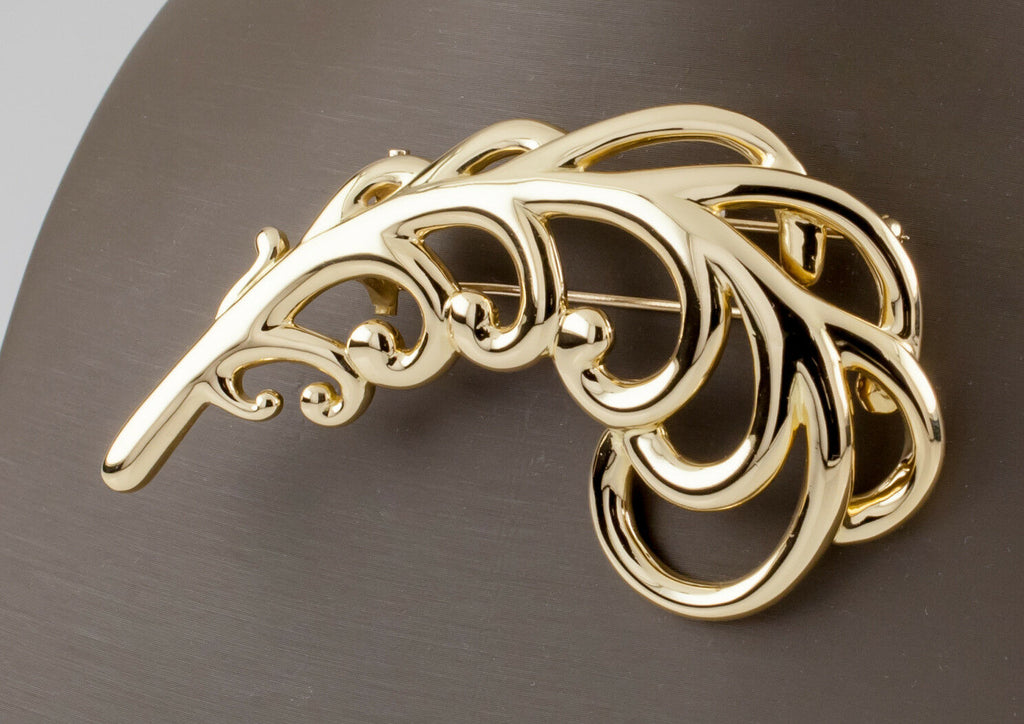 Tiffany & Co. 1980 18k Yellow Gold Paloma Picasso Large Plume Brooch