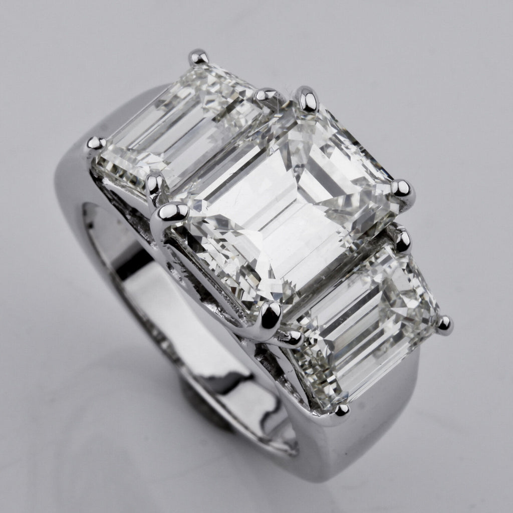 7.66 carat Emerald-Cut 3-Stone 18k White Gold Diamond Engagement Ring