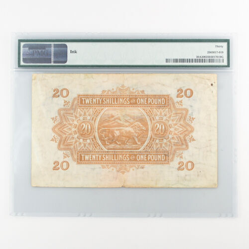 1942 East Africa 20 Shillings or 1 Pound (VF-30 PMG) Currency Board /- £ P-30A
