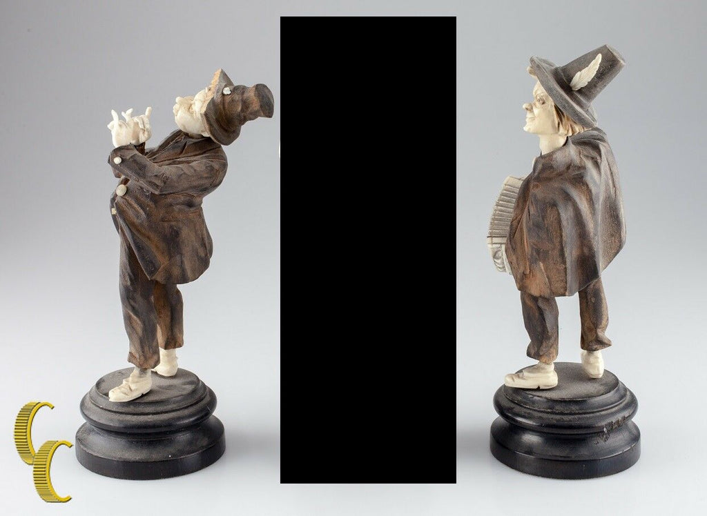 Two German 19th Century Wood Folk Musician Figurines