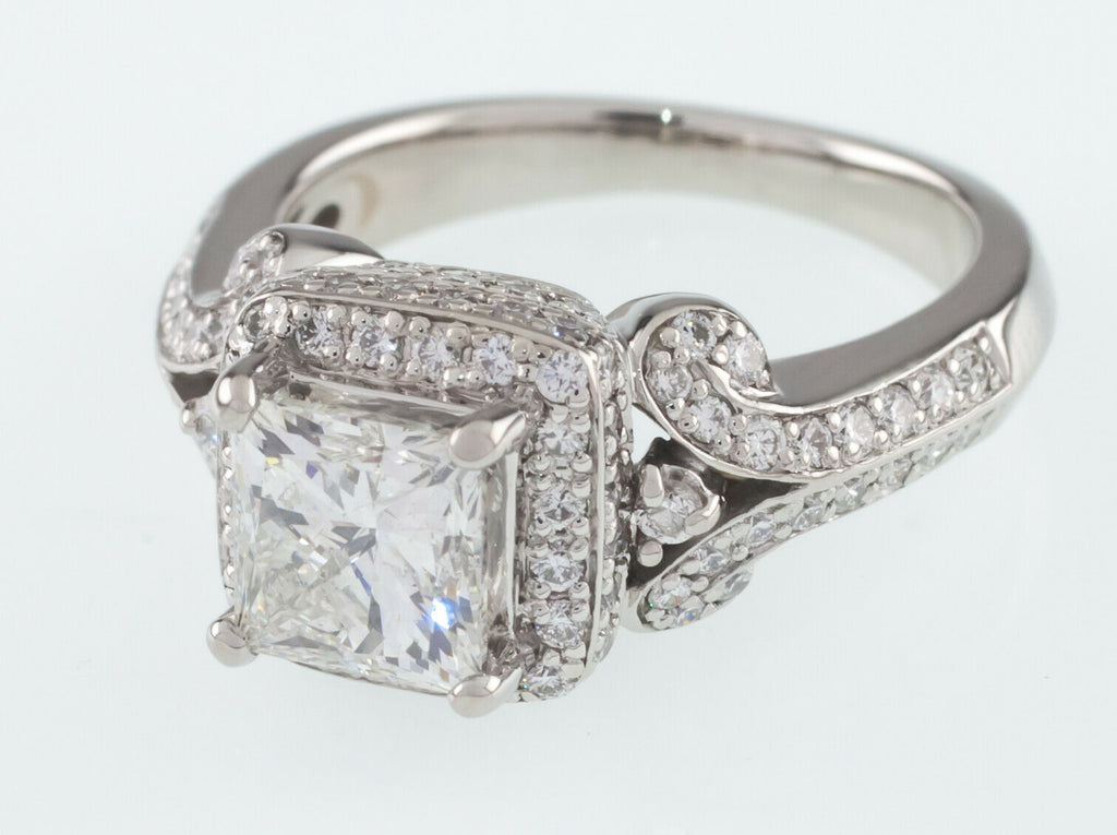 Platinum Princess Diamond Solitaire Ring w/ Accents Center 1.50 Ct Size 5.5